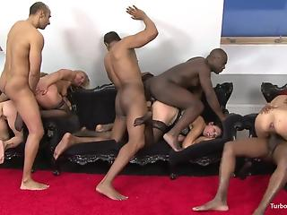 Two mature hotties are getting fucked by big black guys