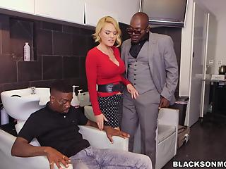 Dick-loving busty mommy and two massive black sausages
