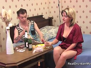 Blonde mother is enjoying hardcore sex with a younger man