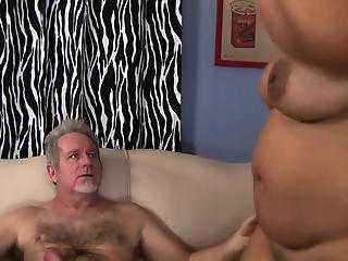 Big-boobed BBW gets her fat pussy fucked on the couch