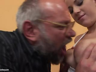 Filthy old man in glasses impaled a big-boobed amateur MILF