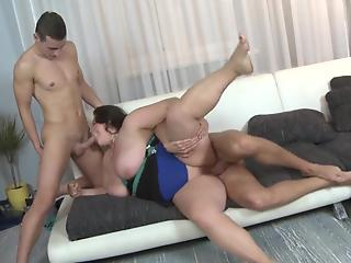 BBW with giant natural tits gets nailed by two loaded pricks