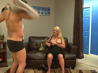 Busty sex-addicted MILF gets hardly rammed by three big cocks