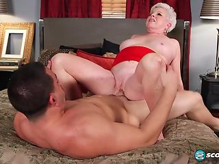 Real mature with huge saggy boobs banged by younger man