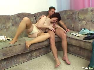 all-natural housewife fucks with young man in the missionary pose