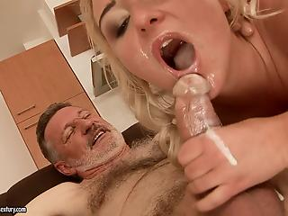 Gorgeous blonde MILF fucks with old man and licks his fresh cum