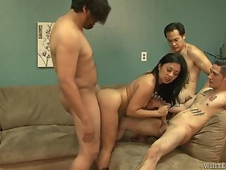 Asian housewife gets holes fucked by two loaded young pricks