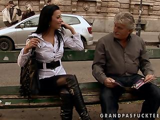 Athletic brunette in tight pants fucks with a rich old man