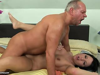Filthy old fucker and sensual brunette MILF have awesome sex