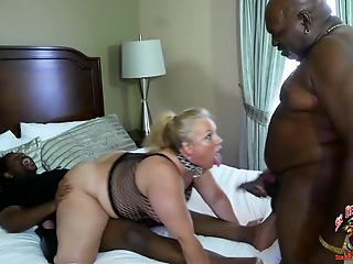 Sexy amateur BBW fuck with two black men in interracial XXX action