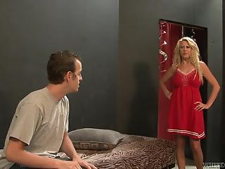 Big-boobied MILF takes off sexy dress to please hungry guy