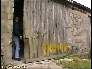 Mature guys dragged one slut in barn for nasty group sex