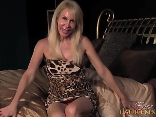 Blonde-haired old woman masturbates solo with dildo in her twat