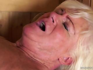 Fat blonde mature woman took stepson to sauna to do it with him