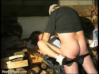 Old man fucks pretty MILF in barn then his stepson joins them