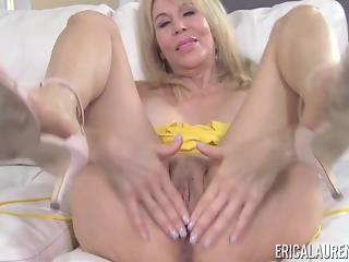 Soloing mature blondie undresses and grabs her big black sex toy
